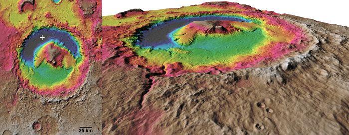 Wizualizacja krateru Gale (NASA)