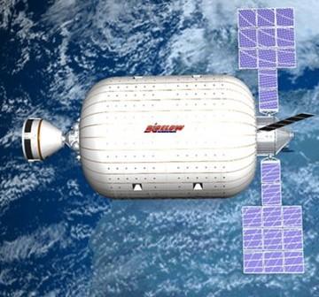 Moduł BA-2100 oraz kapsuła CST-100 / Credits - Bigelow Aerospace (zgoda ze strony tej firmy na wykorzystanie tej grafiki)