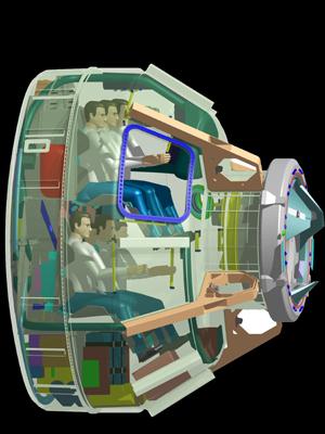 Przekrój przez CST-100 / Credits: Boeing