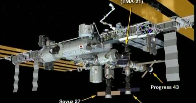 Wizualizacja ISS wraz z przycumowanymi statkami Sojuz i Progress / Credtis: NASA TV