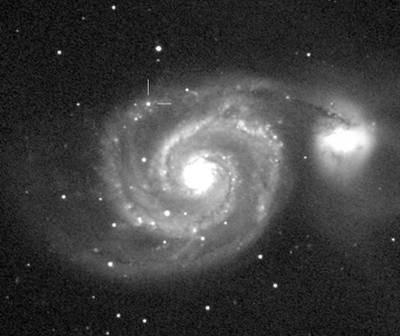 Supernowa SN 2011dh w M51 sfotografowana 3 czerwca / Credits: Martin Mobberley