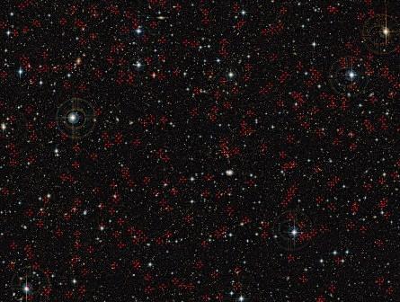 Zdjęcie COSMOS field – obszaru, w którym badano aktywne centra galaktyk. Źródło: ESO
