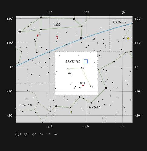 Ilustracja przedstawia badany obszar COSMOS field w gwiazdozbiorze Sekstantu. Źródło: ESO
