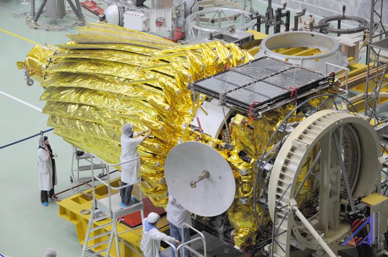 Antena Spektr-R w pozycji złożonej / Credits: Roskosmos