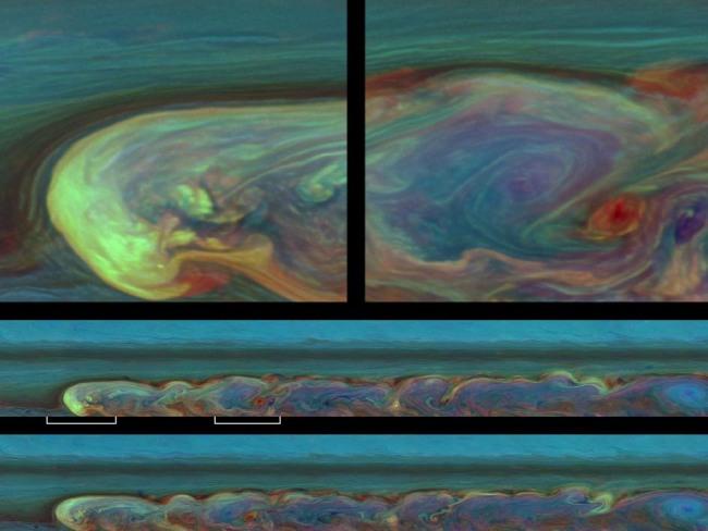 Zdjęcie we fałszywych kolorach wykonane w 12-tym tygodniu od zaobserwowania burzy. Te ekspozycje dokumentują jeden cały dzień z życia burzy / Credit - NASA/JPL-Caltech/SSI