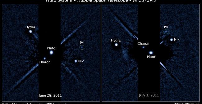 Układ Plutona z zaznaczonym księżycem P4 / Credits - NASA, ESA i M. Showalter (SETI)