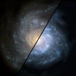 Symulacja pokazująca, jak mogłaby wyglądać w młodym Wszechświecie taka galaktyka spiralna, jakie znajdujemy w naszym otoczeniu (na lewo) oraz jak wyglądałaby galaktyka zawierająca większą ilość jasnych gwiazd / Credit - NASA/JPL-Caltech/STScI