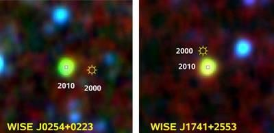 Nowo odkryte brązowe karły na powyższym zdjęciu przedstawione są w fałszywych kolorach. Zaznaczone zostały dodatkowo pozycje tych obiektów sprzed 10 lat / Credits: AIP, NASA/IPAC Infrared Science Archive