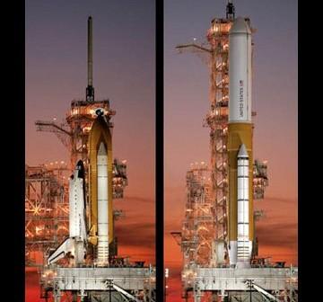 Jedna z wizji rakiety SLS w porównaniu z wahadłowcem. / Credits - NASA