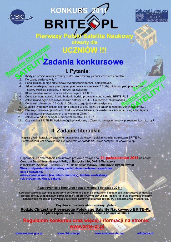 Plakat związany z konkursem BRITE-PL / Credits - CBK PAN