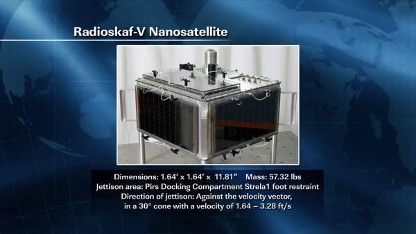 Zdjęcie mikrosatelity ARISSat-1 z podstawowymi parametrami oraz sposobem wypuszczenia / Credits: NASA