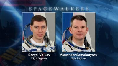 Wykonawcy spaceru EVA-29 - Siergiej Wołkow i Aleksandr Samokutiajew / Credits: NASA