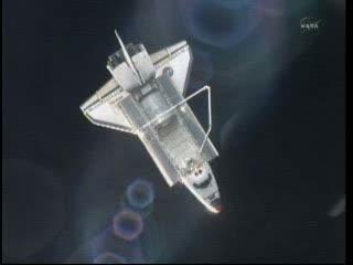 Prom Atlantis z perspektywy ISS / Credits - NASA TV