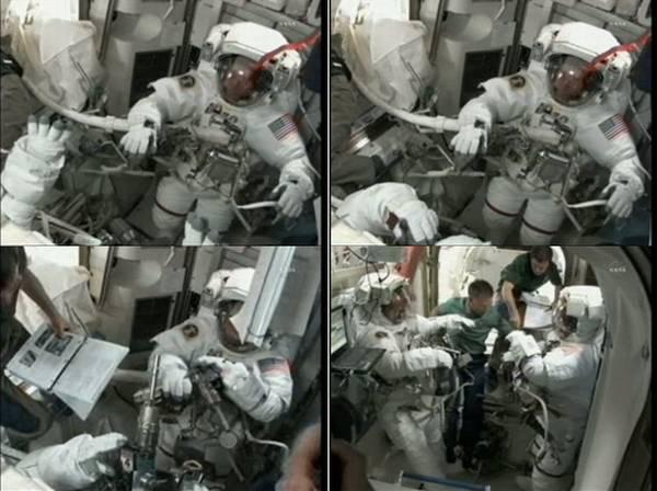 Przygotowania do wyjścia w przestrzeń, astronauci postępują wg nowej procedury usunięcia azotu z ich krwi - ISLE. Na jednym z obrazków astronauci trzymają wiertarki PGT (Pistol Grip Tool), które będą dzisiaj wielokrotnie używane / Credits: NASA TV