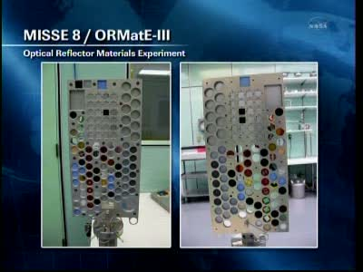 Eksperyment MISSE-8 / ORMatE-III / Credits: NASA TV