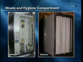 Toaleta WHS, która mieści się w module Tranquility. Podgląd na wnętrze i wygląd zewnętrzny / Credits: NASA TV