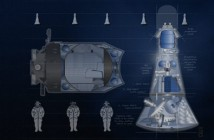 Statek załogowy Ałmaz oparty na radzieckiej konstrukcji TKS, budowany przez Excalibur Almaz Limited (z lewej moduł orbitalny statku TKS) / Źródło: Excalibur Almaz Limited