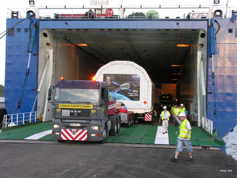 Wyładunek ATV-3 / Credits: Arianespace