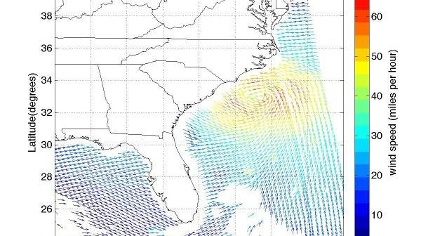 Mapa kierunku i prędkości wiatru w cyklonie tropikalnym Irene; 27 sierpnia 2011, 05:07 UTC. Prędkość w milach na godzinę, 1 mila/h = 0,45 m/s = 1,6 km/h. (Rys. ISRO/NASA/JPL-Caltech)