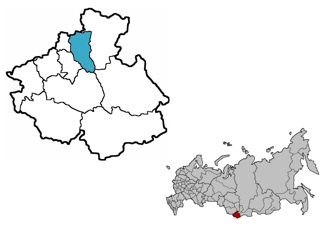 Region Czojski (niebieski) na mapie Autonomicznej Republiki Ałtaju i położenie republiki w Federacji Rosyjskiej / Credtis: Kosmonauta.net, CC-BY 3.0, grafiki źródłowe: WikiCommons