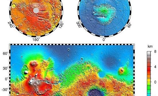 Mapa topograficzna Marsa. Widoczna duża różnica w wysokości północnej i południowej półkuli oraz twory, wyglądające niczym rzeki, prowadzace na północ. / Credits - NASA, JPL, Caltech