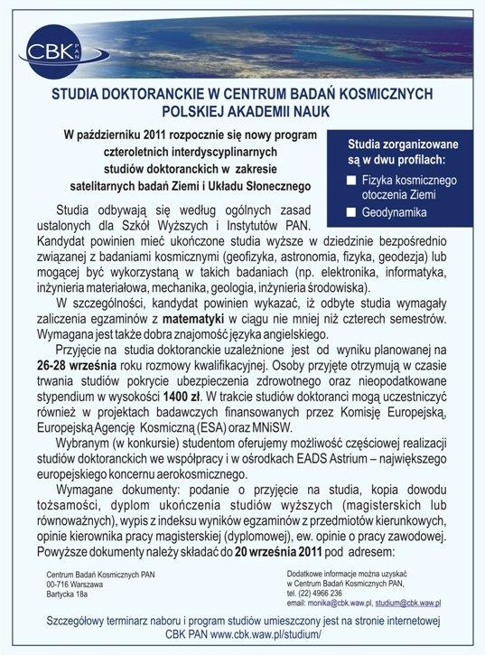 Plakat informujący o studiach doktoranckich w CBK PAN / Credits: CBK PAN