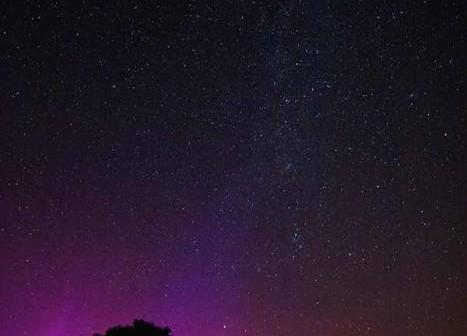 Zdjęcie zarejestrowanej zorzy widocznej ponad horyzontem w okolicach Puław (Kamila Mazurkiewicz)