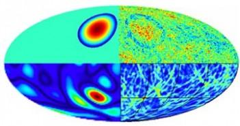 Ilustracja przedstawia różne efekty kolizji wszechświatów w trakcie przebiegu komputerowej analizy. Kolizja (góra-lewo), wpływa na rozkład temperatur mikrofalowego promieniowania tła (góra-prawo). Odcisk towarzyszący kolizji jest identyfikowany jako wielkie wgłębienie (dół-lewo), następnie obecność krawędzi wgłębienia jest podkreślana przez odpowiedni algorytm (dół-prawo). Model jak i selekcja poszczególnych kandydatów na odciski po kolizjach wszechświatów, zostają jeszcze poddane estymacji bayesowskiej. Credit: UCL
