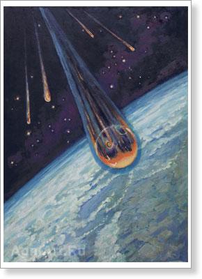 Wizja artystyczna powrotu z orbity kapsuły statku Wostok