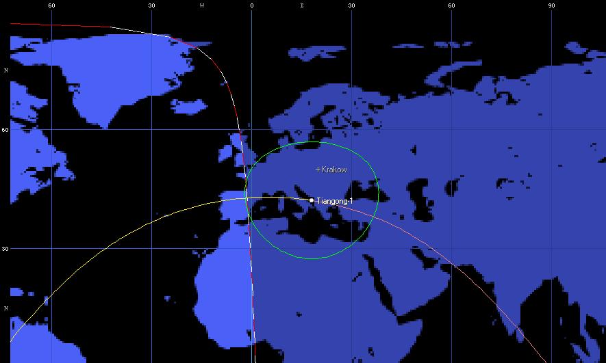 Moment przelotu modułu Tiangong-1 nad Europą o godzinie 19:45 CEST  - dane oparte o wstępne parametry orbitalne (Orbitron)
