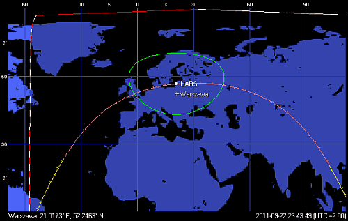 Trajektoria orbity satelity UARS na godzinę 23:43 CEST (Orbitron)
