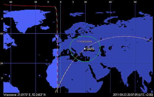 Trajektoria orbity satelity UARS, z przejściem w pobliżu Polski o godzinie 20:07 CEST (Orbitron)