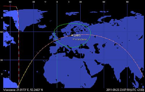 Trajektoria orbity satelity UARS, z przejściem w pobliżu Polski o godzinie 23:07 CEST (Orbitron)