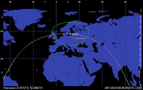 Trajektoria orbity satelity UARS, z przejściem w pobliżu Polski nad Bałtykiem o godzinie 00:38 CEST (Orbitron)