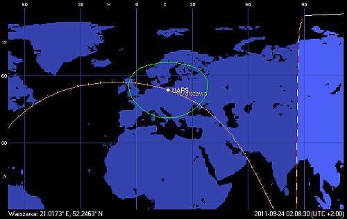 Trajektoria orbity satelity UARS, z przejściem przez terytorium Polski ponad Warszawą o godzinie 2:08 CEST (Orbitron)