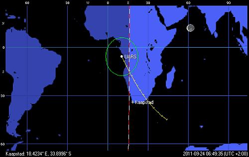 Przypuszczalny rejon wejścia w atmosferę satelity UARS o godzinie 6:49 CEST (Space Track/Orbitron)