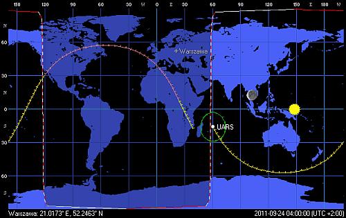 Przypuszczalnie ostatnia orbita satelity UARS, w trakcie której wejdzie on do atmosfery (Orbitron)