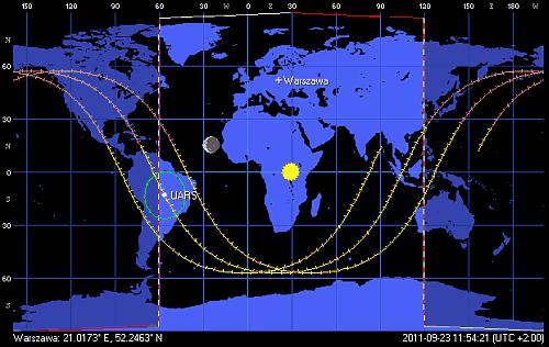 Przebieg poprzedniej, aktualnej i kolejnej orbity satelity UARS, stan na godzinę 11:54 CEST (Orbitron)