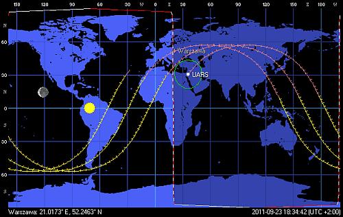 Przebieg kolejnych trzech orbit satelity UARS, stan na godzinę 18:34 CEST (Orbitron)
