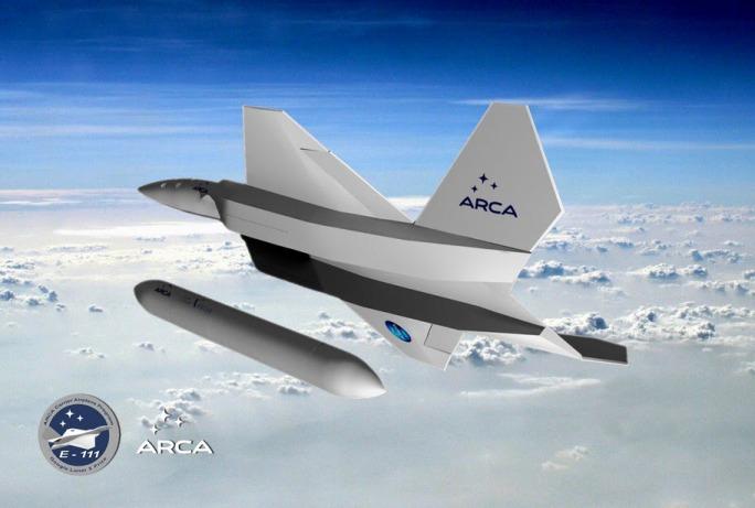 Grafika samolotu IAR-111 zwalniającego na wysokości 16 km rakietę orbitalną Haas II / Źródło: ARCA