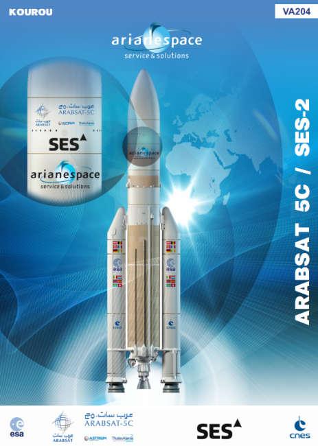 Plakat 204 misji rakiety z rodziny Ariane (Arianespace)