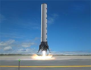 Grasshopper - testowy statek pionowego startu i lądowania / Źródło: SpaceX