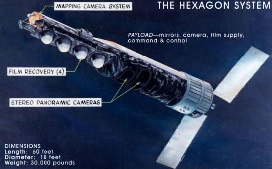 Schemat konstrukcyjny satelity KH-9 Hexagon (NRO)