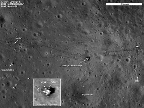 Obszar działań astronautów misji Apollo 17 zarejestrowany przez sondę LRO z nowej, tymczasowej orbity o perycentrum na wysokości 21 kilometrów (NASA/Goddard/ASU)