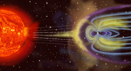 Oddziaływanie wiatru słonecznego i ziemskiego pola magnetycznego - wizja artystyczna. Czy załogowe statki kosmiczne będą generowały własne tarcze magnetyczne? Według fizyków, będzie to możliwe. Credit: NASA