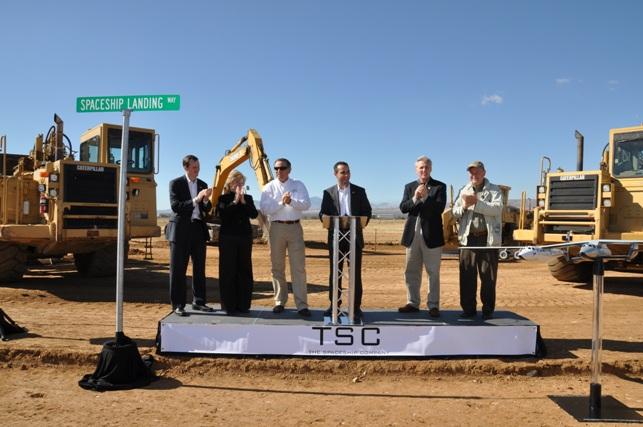 Uroczystość rozpoczęcia budowy hangaru FAITH firmy TSC (listopad 2010 r.) / Źródło: Virgin Galactic