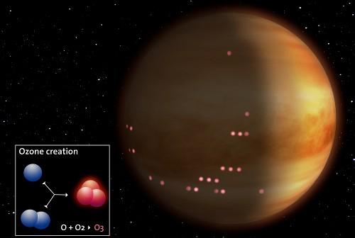 Artystyczna wizja detekcji cząstek ozonu w atmosferze Wenus. Credit: ESA/AOES Medialab
