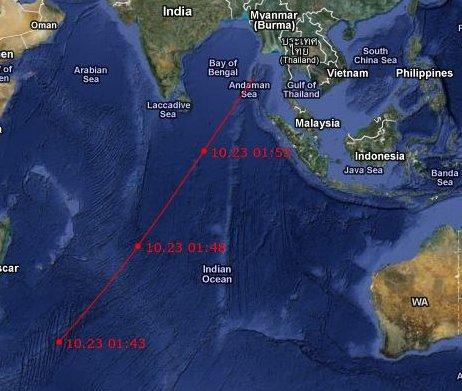 Mapa deorbitacji satelity ROSAT / Credits - Google, Jmvh