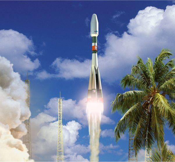 Wizja artystyczna rakiety Sojuz startującej z Gujany Francuskiej / Credits: Arianespace