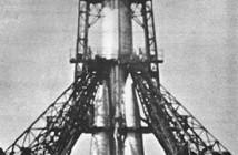 Rakieta nośna Sputnik (prawdopodobnie z satelitą Sputnik 1 na pokładzie) / Źródło: NASA